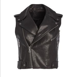 Alice and Olivia Cody Cropped leather Moto Vest